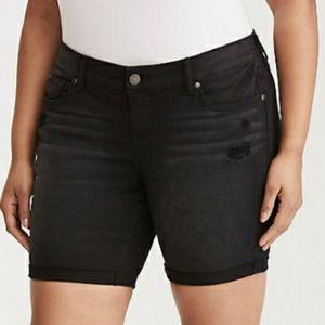 Torrid Size 16 Vintage Wash Black Mid Jean Shorts